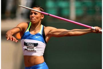 Heptathlete Hyleas Fountain competes in the javelin throw during day two of the U.S. Track and Field Olympic Trials (Getty Images)