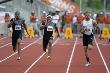 Darvis Patton (left) and Mike Rodgers (centre) at the 2013 Texas Relays (Kirby Lee)