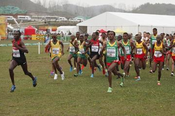 Geoffrey Kamworor sprints into the lead in the senior men's race at the IAAF World Cross Country Championships, Guiyang 2015 (Getty Images)