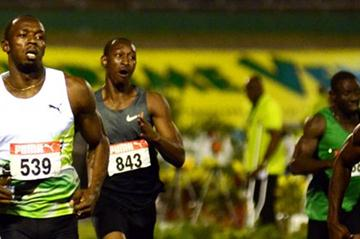 Usain Bolt cruising through the 200m semis in Kingston (Anthony Foster)