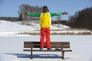 Defending men's champion Imane Merga (ETH) in the snow on the eve of the 40th edition of the IAAF World Cross Country Championships in Bydgoszcz, Poland, Saturday 23 March (Getty Images)