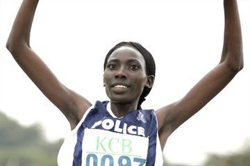 Linet Masai wins the senior women's 8km race at the KCB/Athletics Kenya National Cross Country Championships at the Uhuru Gardens in Nairobi (Mohammed Amin/Daily Nation)