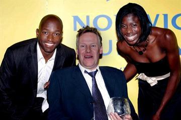 Martin Webster with Marlon Devonish and Christine Ohuruogu at the 2007 BAWA dinner (Mark Shearman)