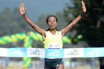 Netsanet Gudeta wins the women's race at the 2013 Great Ethiopian Run (Jiro Mochizuki)