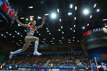 Yekaterina Koneva in the triple jump at the 2014 IAAF World Indoor Championships in Sopot (Getty Images)