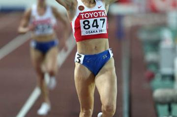 Yekaterina Volkova celebrates winning gold in the women's 3000m Steeplechase (Getty Images)