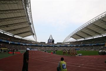 General view of Women's 1500m at Daegu 2008 meet - the stadium will host the 2011 World Championships in Athletics (Daegu 2011 LOC)