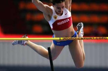 Yelena Isinbayeva of Russia during the women's Pole Vault qualification (Getty Images)