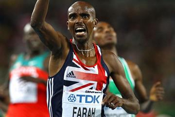 Mohamed Farah of Great Britain celebrates as he crosses the finish line to claim victory in the men's 5000 metres final  (Getty Images)