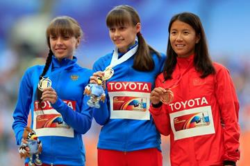 Elena Lashmanova in the womens Race Walk Medal Ceremony at the IAAF World Athletics Championships Moscow 2013 (Getty Images)