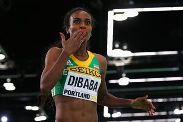 Genezebe Dibaba wins the 3000m at the IAAF World Indoor Championships Portland 2016 (Getty Images)