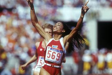 Florence Griffith-Joyner celebrates 100m gold at the 1988 Olympics in Seoul (Getty Images)