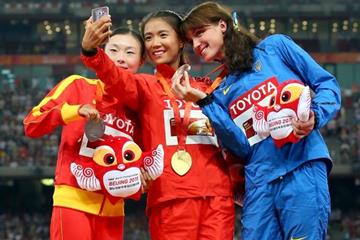 Liu Hong, Lu Xiuzhi and Lyudmyla Olyanovska on the podium for the women's 20km race walk at the IAAF World Championships, Beijing 2015 (Getty Images)