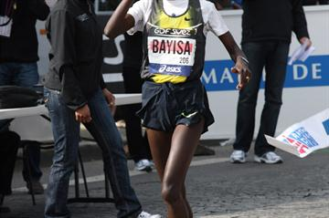 Atsede Bayisa after her 2:24:42 victory in the Paris Marathon (organisers)
