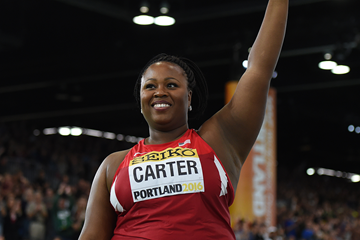 Michelle Carter after winning the shot at the IAAF World Indoor Championships Portland 2016 (AFP / Getty Images)