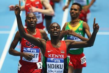 Caleb Ndiku wins the 3000m at the 2014 IAAF World Indoor Championships in Sopot (Getty Images)