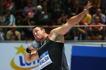 Tom Walsh in the shot put at the 2014 IAAF World Indoor Championships in Sopot (Getty Images)