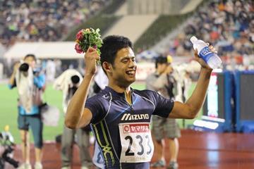 Keisuke Nozawa after winning the 400m hurdles at the 2016 Japan Championships (JAAF)