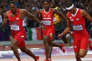 Michael Tinsley and Javier Culson make a dash for the line in the 400m Hurdles at the London 2012 Olympics (Getty Images)