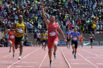 Ryan Bailey at the 2015 Penn Relays (Kirby Lee)