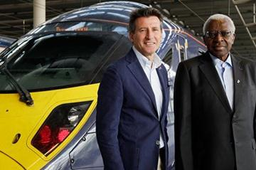 IAAF President Lamine Diack and LOCOG chairman Lord Sebastian Coe take the Javelin Train from London St Pancras to the London 2012 Olympic stadium in Stratford, on August 5, 2011 in London (Getty Images)