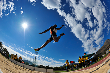 Ruswahl Samaai in the long jump at the South African Championships in Stellenbosch (Roger Sedres)