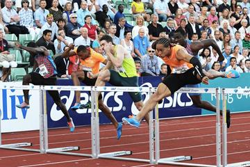 Pascal Martinot-Lagarde winning the 110m hurdles at the 2014 IAAF Diamond League in Oslo (Mark Shearman)