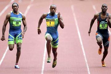 SPRINT SPEED the focus of the 2008 Paris Conference - Asafa Powell powers to 9.85 in the 2006 Paris meeting (Getty Images)