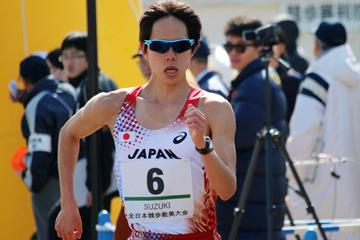 Yusuke Suzuki en route to breaking the 20km race walk world record in Nomi (Rikkyo / Getsuriku)