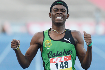 Jamaica's Christopher Taylor wins the 400m (Collin Reid)