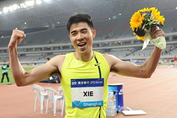 Xie Wenjun after winning the 110m hurdles at the IAAF Diamond League meeting in Shanghai (Errol Anderson)
