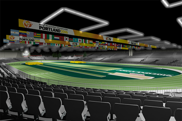 An impression of how the Oregon Convention Center will look for the IAAF World Indoor Championships Portland 2016 (Portland 2016 LOC)