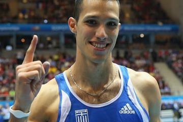Pole vault winner Konstadinos Filippidis at the 2014 IAAF World Indoor Championships in Sopot (Getty Images)