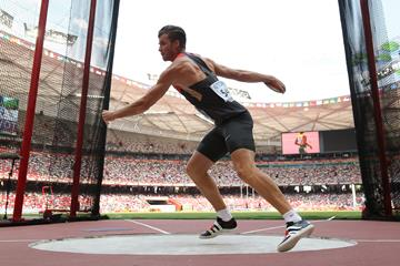 Rico Freimuth in the decathlon discus at the IAAF World Championships, Beijing 2015 (Getty Images)
