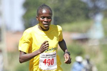 Helena Kirop on her way to victory during the Shoe For Africa 5km Road Race for Women in Iten (Mohammed Amin)