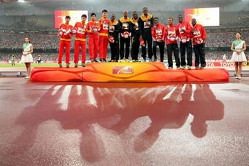 Jamaica, China and Canada on the men's 4x100m podium at the IAAF World Championships, Beijing 2015 (Getty Images)
