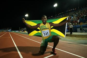 Dexter Lee celebrates his gold medal in the 100m (Getty Images)