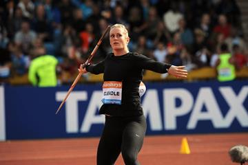Liz Gleadle at the 2014 IAAF Diamond League meeting in Birmingham (Jean-Pierre Durand)