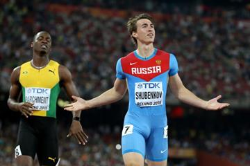 110m hurdles winner Sergey Shubenkov at the IAAF World Championships, Beijing 2015 (Getty Images)