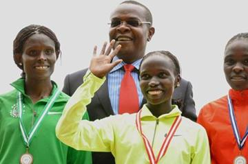 Sally Kipyego, Vivian Cheruiyot and Joyce Chepkirui in Nairobi with Kenyan Sports Minister Dr. Paul Otuoma (Muthoni Njuki, Capital FM)