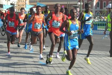 The men's lead pack at the Madrid Marathon (Mareas)