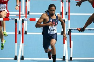 Jason Richardson of the US in the heats of the 110m Hurdles (Getty Images )