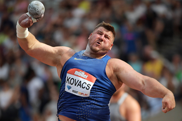 Joe Kovacs, winner of the shot put at the IAAF Diamond League meeting in London (Kirby Lee)