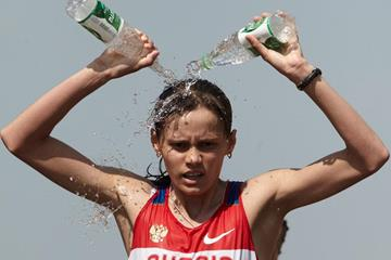 Elena Lashmanova in action at the Saransk World Race Walking Cup (Getty Images)