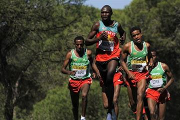 Geoffrey Kipsang Kamworor of Kenya in action in the men's junior race (Getty Images)