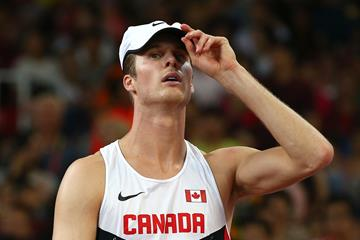 Derek Drouin in the men's high jump final on day nine of the IAAF World Championships, Beijing 2015 at Beijing National Stadium on August 30, 2015 (Getty Images)