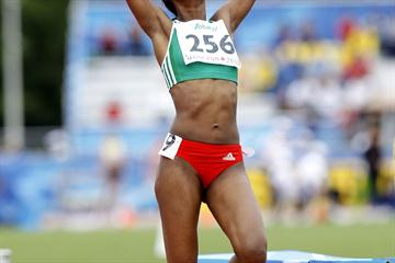Ethiopia's Tizita Bogale crosses the line victorious in the 1500m, stopping the clock in a PB of 4:08.06 (Getty Images)