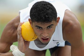 Algeria's Larbi Bourrada in the decathlon shot put (Getty Images)