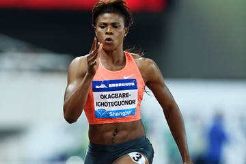Blessing Okagbare on her way to winning the 100m at the IAAF Diamond League meeting in Shanghai (Errol Anderson)