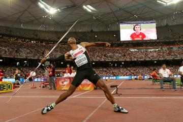 Damian Warner in the decathlon javelin at the IAAF World Championships, Beijing 2015 (Getty Images)